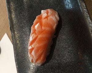 Salmon nigiri at Kiku Zakura in the Midvalley Megamall